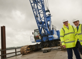 Cllr Rob Polhill at Wigg Island to see the trestle bridge being built – August 2014