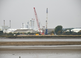 Cranes at the construction site on the north side of the river – September 2014