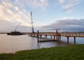 South side trestle bridge and cofferdam progress – November 2014