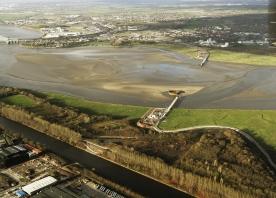 Aerial view of Mersey Gateway progress – 24 December 2014