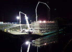 Astmoor Bridgewater Viaduct south abutment concrete pour – October 2015