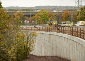 Retaining wall at M56 Junction 12 roundabout – October 2015