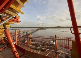View of the central and southern cofferdams from the north pylon – October 2015