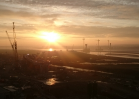 View from the Widnes Tower Crane at Dawn – March 2016