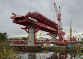 MSS Webster on the first span of the south approach viaduct – October 2016