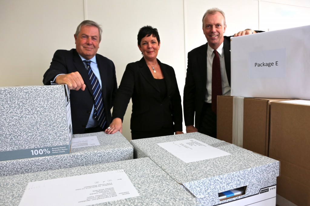 Pictured are, from left to right, Steve Nicholson, Mersey Gateway Project Director; Lorraine Cox, Head of Halton Borough Council Procurement Centre of Excellence; and Cllr John Stockton, Halton Borough Council's Executive Board Member for Transportation