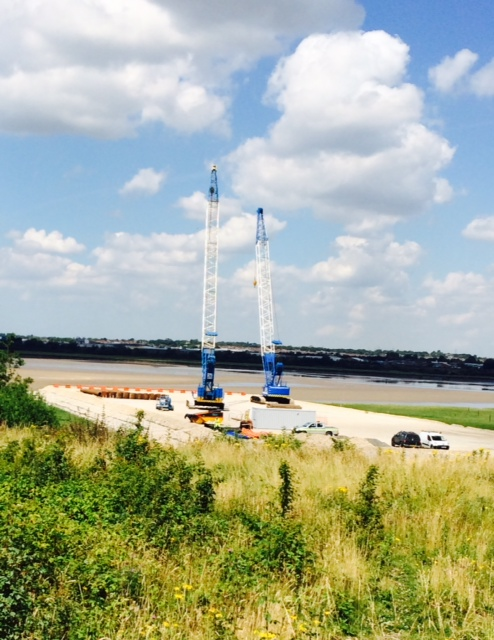 The assembled cranes will be used to build a temporary bridge across the river to allow workers to build the new Mersey Gateway bridge