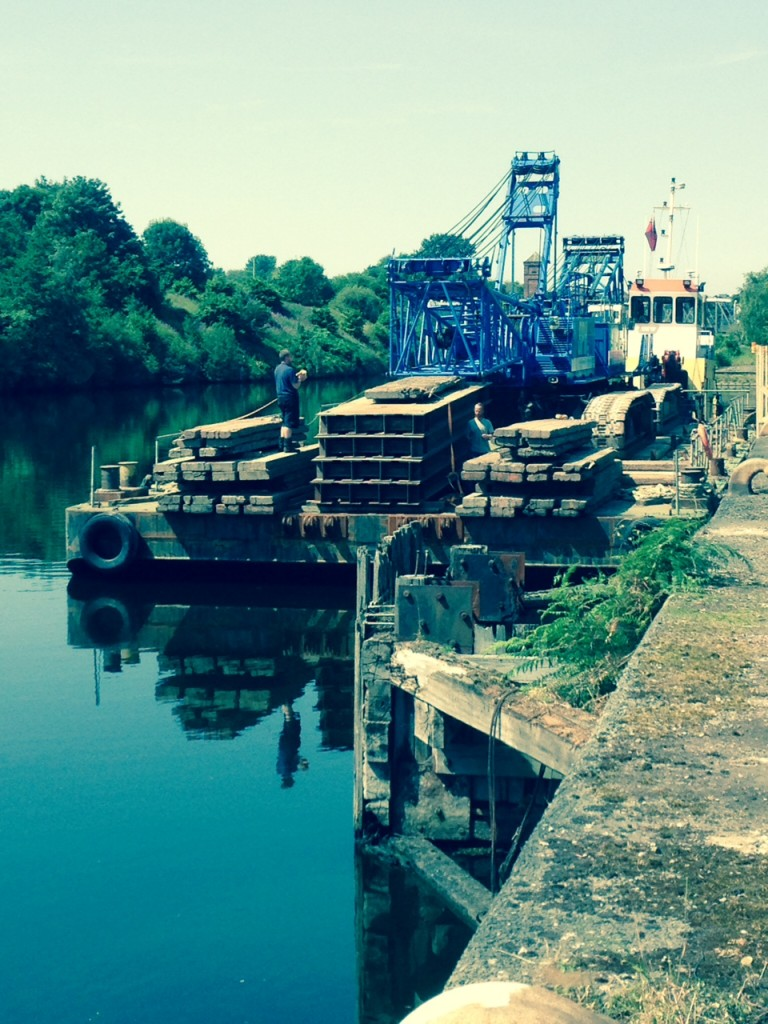 The crane components were transported down the Manchester Ship Canal