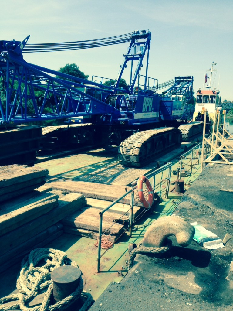 The cranes were unloaded at Wigg Island