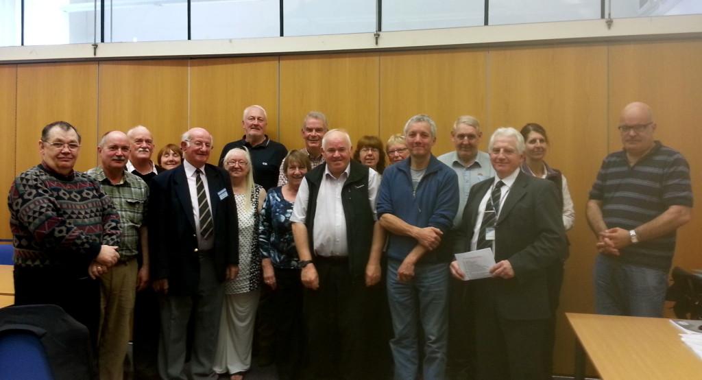 Mersey Gateway volunteers pictured with local historian Alex Cowan and Cllr Eddie Jones.