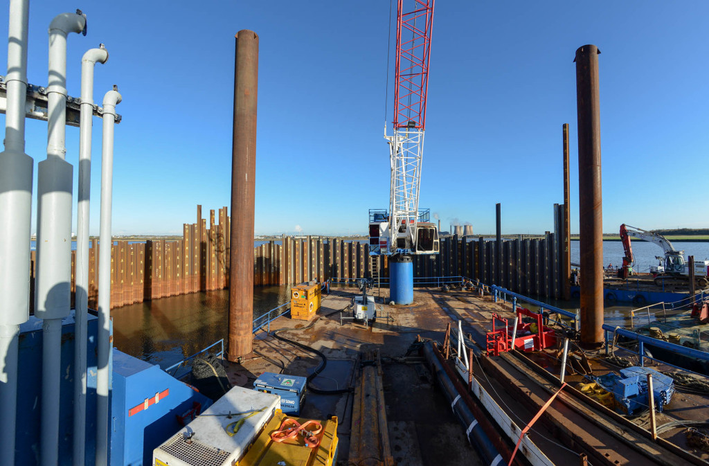 View from inside the south pylon cofferdam