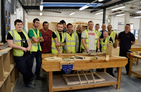 Trainees on Merseylink's pre-employment course in the construction centre at Riverside College. Photo courtesy of Riverside College.