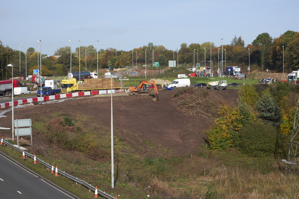 Work is underway at the roundabout between the Weston Point Expressway and the M56 Junction 12