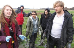 University of Salford students conducting their investigation on the Upper Mersey Estuary