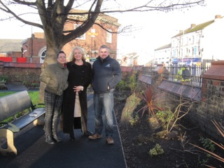 (L-R) Kelly Waring and Terri Kearney from Nightstop Communities North West replanted trees in St Paul's peace garden with help from Merseylink's Mark Welsby