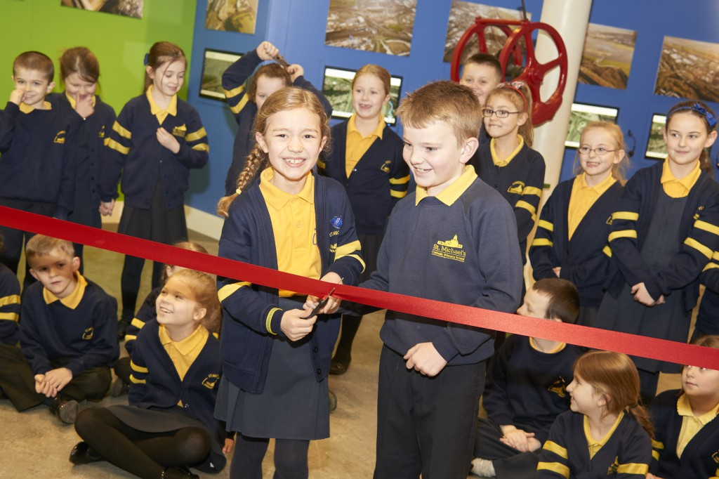 Anna McDermott and Ellis Bebbington at the opening of the Mersey Gateway visitor centre