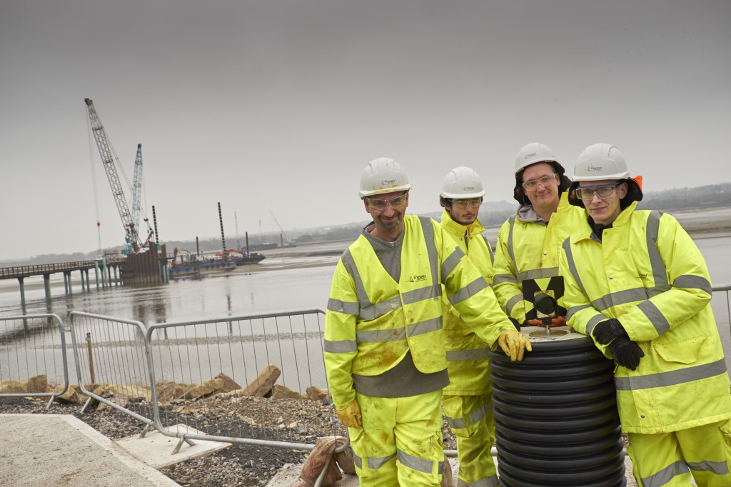 Merseylink's general construction apprentices Ian Ratcliffe, Sean Teeling, Kyle Crane and Matthew Shaw at the project's Catalyst site