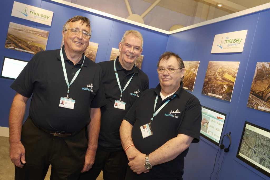 Volunteers Harry, Peter and Mal on duty at the Mersey Gateway visitor centre in Widnes