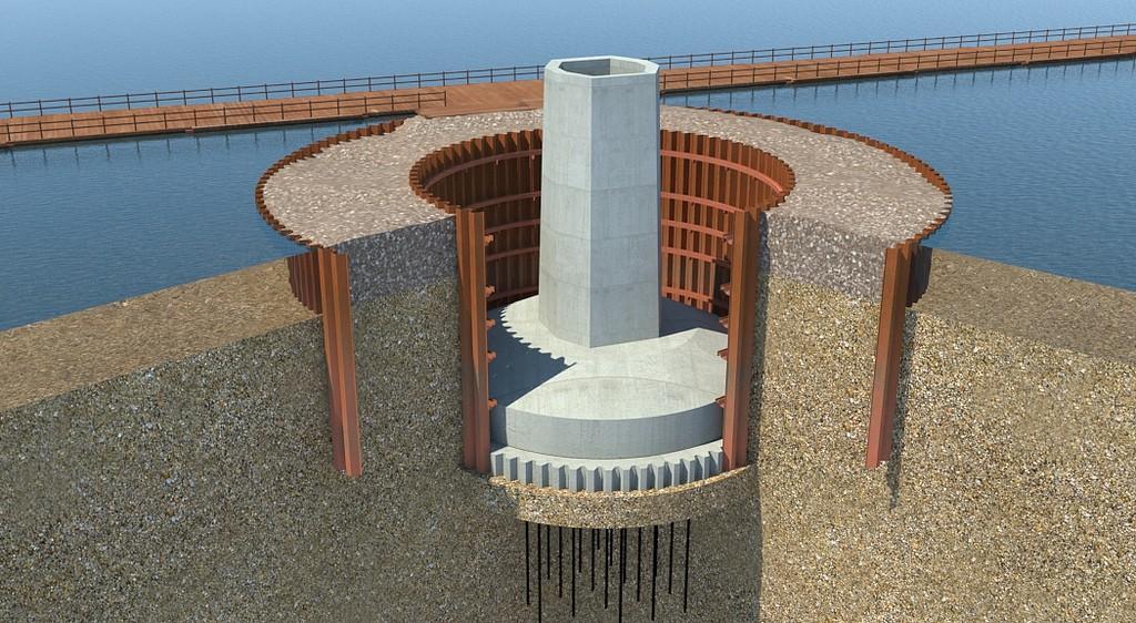Mersey Gateway cofferdam - concrete pour visualisation