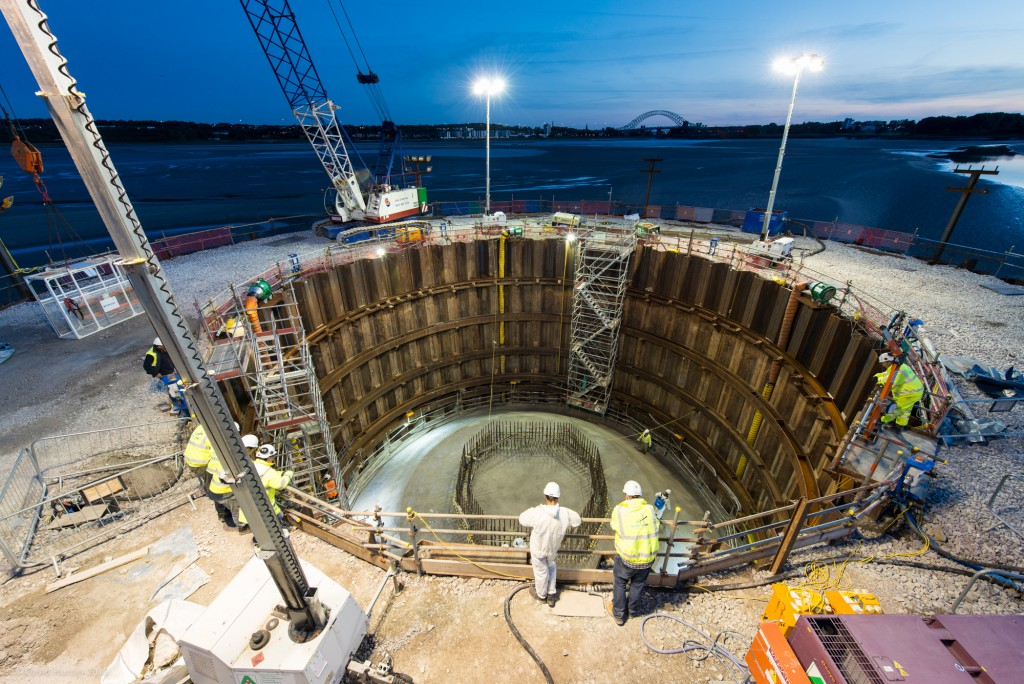 The north cofferdam with its new look completed pylon base