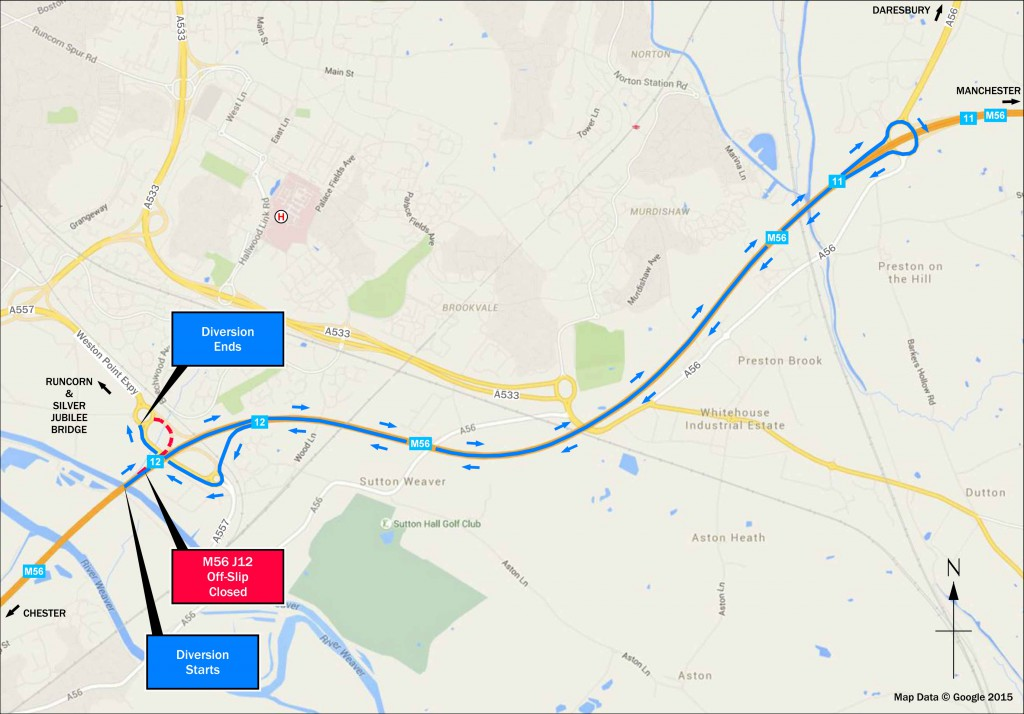 The official diversion route will take traffic up to junction 11 and then back to junction 12