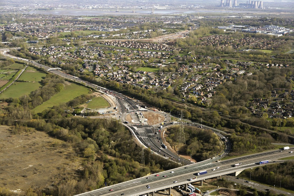MG 3 aerial view of redesigned roundabout at M56 junction 12